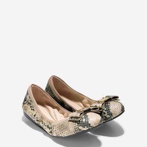 Cole Haan Tali Bow Snake Print Ballet Flats 8.5 B